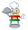 Chef with food cartoon baby sitting in the