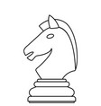 chess knight contour vector image vector image