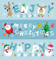 Christmas Banner Santa Claus and Friends Lettering vector image vector image