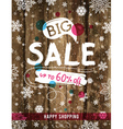 Christmas poster with snowflakes and sale offer vector image