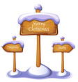 Christmas sign boards set on winter background vector image