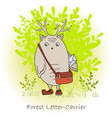 colorful cute monster with bag forest postman vector image