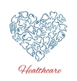 Dentistry and dental healthcare heart shape poster vector image vector image