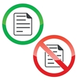 Document permission signs set vector image vector image