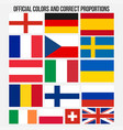 flags of countries with official colors vector image
