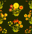 floral seamless texture flowers and leaves vector image vector image