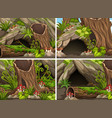four forest scenes with woods and cave vector image