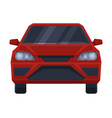 front view red car urban city vehicle flat vector image
