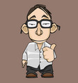 funny cartoon guy with glasses approvingly vector image vector image