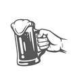 male hand holding beer glass vector image