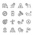 navigation line icons or symbols linear vector image