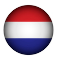 Netherlands flag button vector image