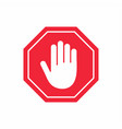 no entry sign stop hand gesture in red octagon vector image