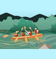 people in kayak near rocky shore on sunny day vector image vector image
