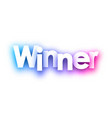 purple winner sign on white background vector image vector image