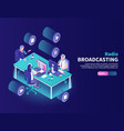 radio broadcasting color background vector image vector image