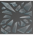 realistic shards broken glass with transparency vector image