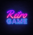 retro games neon sign gaming design vector image vector image
