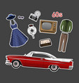 retro stikers set vintage objects vector image
