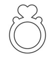 ring with heart shaped gemstone thin line icon vector image