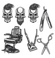 set barber equipment and skulls vector image vector image