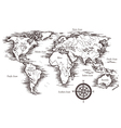 Sketch World Map Template vector image