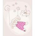 sleeping babear cute card vector image vector image