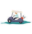 small automobile for golf course car with clubs vector image