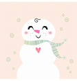 Snowman girl isolated on dotted background vector image vector image