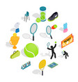 tennis icons set in isometric 3d style vector image vector image