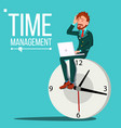 time management man huge clock watch vector image