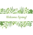Welcome spring green card design text in floral vector image