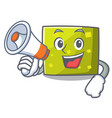 with megaphone square character cartoon style vector image vector image