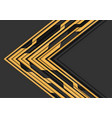 yellow circuit line arrow direction on grey vector image vector image