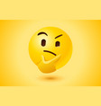 yellow thinking face icon vector image vector image