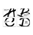 Business cards with abstract black paint smears vector image