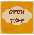 Vintage open sign with elements of grunge vector image