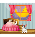 A girl sleeping in her room with a dog vector | Price: 1 Credit (USD $1)