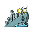 american destroyer warship mascot vector image