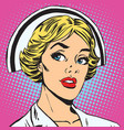 avatar portrait of a retro nurse vector image vector image