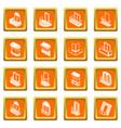 balcony window forms icons set orange square vector image vector image