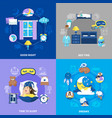 bedtime 4 flat icons square vector image vector image