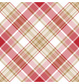 beige red white check diagonal plaid seamless vector image vector image