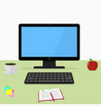 black computer on the desk working space vector image vector image