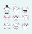 black line cute smiling cats with different faces vector image vector image