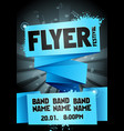 blue rock festival flyer design template for party vector image vector image