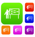 businessman and presentation screen set collection vector image