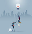 businessman and woman created different ideas vector image