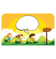 Children running in the park vector image vector image