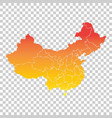 china map colorful orange on isolated background vector image vector image